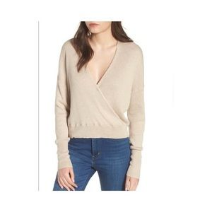 LEITH Ribbed Knit V-Neck Wrap Sweater